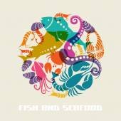 Color fish and seafood icon — Stock Vector
