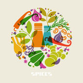 Color spices and herbs icon — Stock Vector