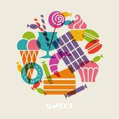 Sweet dessert icons — Vector de stock
