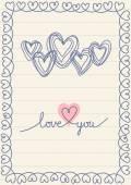 Doodle heart card — Stock Vector