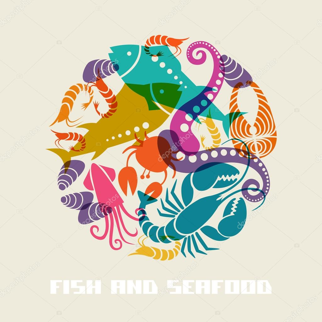 Color fish and seafood icon stock vector anfisa for Fish and seafood