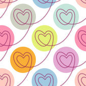 Seamless pattern with linear hearts — Stockvektor