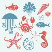 Set of sea fauna — Stock Vector