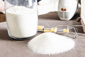White sugar for cooking on the table — Stock Photo