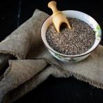 Chia seeds in ceramic bowl — Stock Photo #59123849