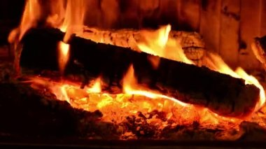 Hořící dřevo v krbu — Stock video