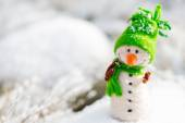 Happy snowman on snow (copy space) — Foto de Stock