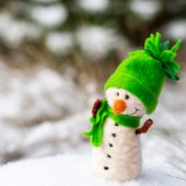 Happy snowman on snow  — Foto de Stock