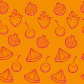 Orange doodle seamless background with  red fruits — Stock Vector