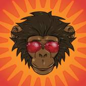 Funny cartoon  monkey with glasses — Stock Vector