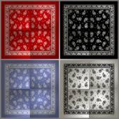 Set of  Paisley Bandana simple pattern — Stock Vector