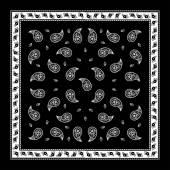 Black Paisley Bandana simple pattern — Stock Vector
