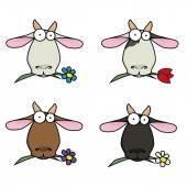 Slip-resim komik surat farklı keçi çiçek çiğnemek. — Stok Vektör