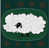 Funny fluffy white sheep on a green background — Stock Vector