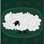 Забавные пушистые белые овцы на зеленом фоне — Cтоковый вектор