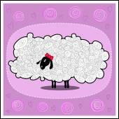 Funny cartoon fluffy white female sheep — Stock Vector
