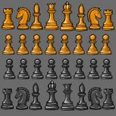 Chess pieces on a gray background — Stock Vector
