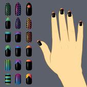 Set van gekleurde geschilderde nagels. manicure. nagellak. — Stockvector