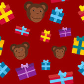 Seamless pattern of the monkeys and gifts — Stock Vector