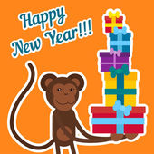 Year of the monkey. Monkey with gifts — Stock Vector