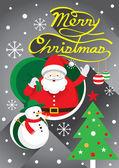 Santa, Christmas Text & Snowman — Stockvector