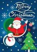 Santa, Christmas Text & Snowman — Stock Vector