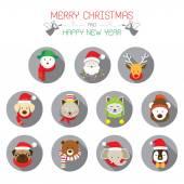 Flat Icons Set: : Christmas, Santa & Animals — Stockvektor