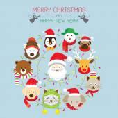 Christmas : Santa & Animals — Stock Vector