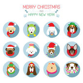 Flat Icons Set: : Christmas, Various Dog Breeds — Stock Vector