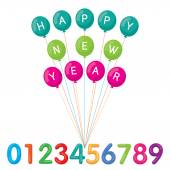 Balloons with Happy New Year Text and Numbers — Stock Vector
