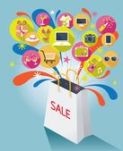 Shopping Bag with Sale Text and Various Icons — Stock vektor