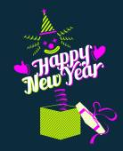 Jack in the Box with Happy New Year Text — Stock Vector