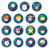 Flat Icons Set : Christmas, Family, People — Stock Vector