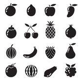 B&W 图标: 的乐谱的水果 — 图库矢量图片