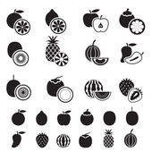 B&W Icons Set : Fruites & Piece of Fruits — Stock Vector