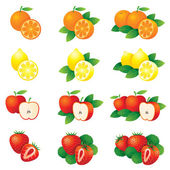 Orange, Lemon, Apple, Strawberry, Illustrate — Vector de stock