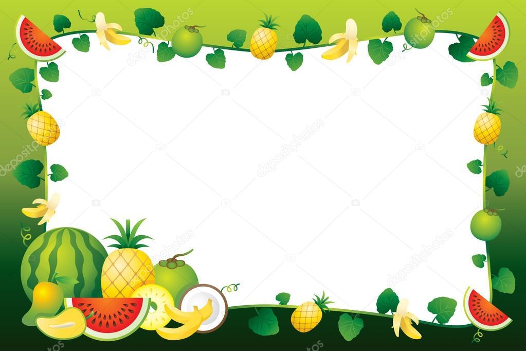 Mixed Fruits Border Frame Stock Vector 169 Muchmania