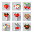 Icons Set : Love Objects, Sweet Fruit & Food — Stock Vector #60264305