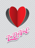 Heart Shape Paper Cut Background and LOVE Text — Vector de stock