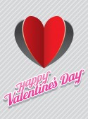 Heart Shape Paper Cut Background and Valentine's Text — Stockvektor