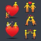 Human Symbol Love Story Concept — Vector de stock