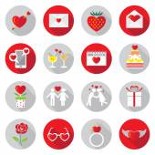 Flat Icons Set : Love Objects — Stock Vector
