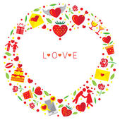 Love Icons Objects Wreath — Stock Vector