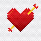 Heart Shape with Arrow Mosaic Style — Stock Vector