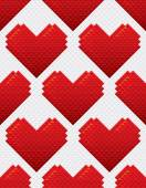 Heart Shapes Seamless Pattern Mosaic Style — Stockvektor