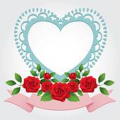 Roses Heart-Shaped Frame, Border — ストックベクタ