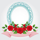Roses Round-Shaped Frame, Border — Vector de stock