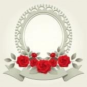 Roses Vintage Round-Shaped Frame, Border — Stock Vector