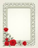 Roses Vintage Square-Shaped Frame, Border — Stock Vector
