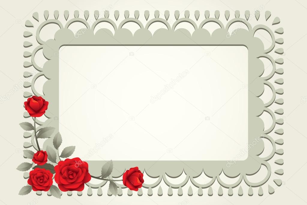 Roses Vintage Square-Shaped Frame, Border — Stock Vector ...
